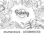bakery background. top view of... | Shutterstock .eps vector #1018840153