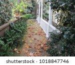 fallen leaves along a sandstone ... | Shutterstock . vector #1018847746