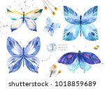 set of watercolor butterfly.... | Shutterstock . vector #1018859689