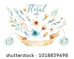 Stock photo hand drawn watercolor happy easter set with bunnies design rabbit bohemian style isolated boho 1018859698