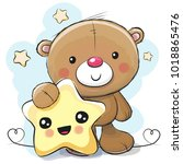 cute cartoon teddy bear with... | Shutterstock . vector #1018865476