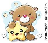 cute cartoon teddy bear with... | Shutterstock . vector #1018865476