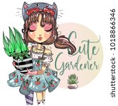 Cute Gardener Little Girl With...