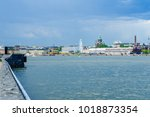 scene of the south harbor  with ... | Shutterstock . vector #1018873354