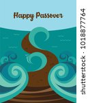 moses splitting the red sea and ... | Shutterstock .eps vector #1018877764
