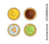 cupcakes top view with sprinkles | Shutterstock .eps vector #1018880626