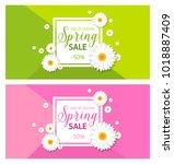 spring sales banner   for any... | Shutterstock .eps vector #1018887409