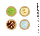 cupcakes top view with frosting ... | Shutterstock .eps vector #1018887970