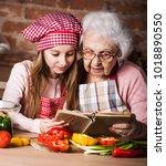little granddaughter reading...   Shutterstock . vector #1018890550