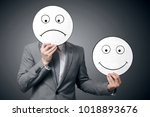 businessman holding smile and... | Shutterstock . vector #1018893676