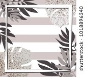 silver tropical leaves with... | Shutterstock .eps vector #1018896340