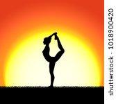yoga dhanurasana pose black... | Shutterstock .eps vector #1018900420