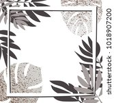 silver tropical leaves with... | Shutterstock .eps vector #1018907200