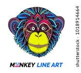 patterned head of monkey... | Shutterstock .eps vector #1018914664