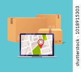 delivery tracking on a computer.... | Shutterstock .eps vector #1018915303