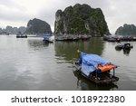 boats in halong  ha long  bay   ... | Shutterstock . vector #1018922380