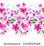 seamless floral border.... | Shutterstock . vector #1018929184