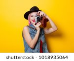 portrait of young style hipster ... | Shutterstock . vector #1018935064
