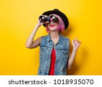 portrait of young style hipster ... | Shutterstock . vector #1018935070