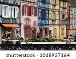 street christmas decorations in ... | Shutterstock . vector #1018937164