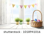 easter table background of free ... | Shutterstock . vector #1018941016