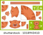 cut and glue the paper cat.... | Shutterstock .eps vector #1018943410