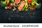 healthy food. fish salmon ... | Shutterstock . vector #1018944100