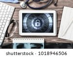 doctors workplace with white...   Shutterstock . vector #1018946506