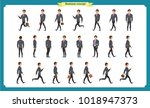 collection set of walking and... | Shutterstock .eps vector #1018947373