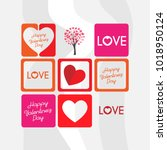 happy valentines day icons... | Shutterstock .eps vector #1018950124