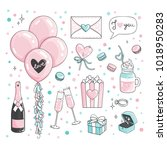 cute romantic stickers set for... | Shutterstock .eps vector #1018950283