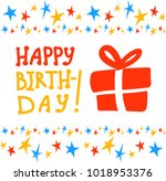 happy birthday caption and red...   Shutterstock .eps vector #1018953376