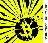 exploding bitcoin. vector... | Shutterstock .eps vector #1018959184