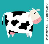 vector happy cow cartoon on... | Shutterstock .eps vector #1018960390