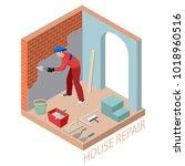 isometric interior repairs... | Shutterstock .eps vector #1018960516