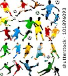 collection of soccer players in ... | Shutterstock .eps vector #101896093