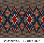 seamless knitted pattern. red... | Shutterstock .eps vector #1018962874