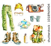 watercolor hiking walking... | Shutterstock . vector #1018964404