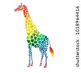 watercolor giraffe  watercolor... | Shutterstock . vector #1018964416