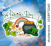 holiday label with shamrock ... | Shutterstock .eps vector #1018973260