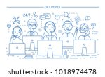 smiling online advisors wearing ... | Shutterstock .eps vector #1018974478