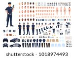policeman creation set or diy... | Shutterstock .eps vector #1018974493