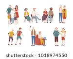 collection of happy elderly... | Shutterstock .eps vector #1018974550
