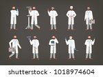 bundle of male doctor ... | Shutterstock .eps vector #1018974604