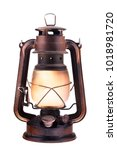 Gas lantern with burning light  ...