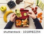 preparing healthy vegetarian...   Shutterstock . vector #1018982254