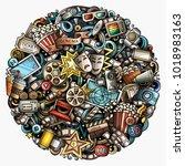 cartoon vector doodles cinema...   Shutterstock .eps vector #1018983163