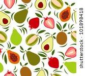 vector exotic fruits pattern | Shutterstock .eps vector #101898418