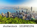 amazing view on hong kong city... | Shutterstock . vector #1018985296