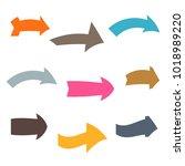 set of nine multicolored... | Shutterstock .eps vector #1018989220